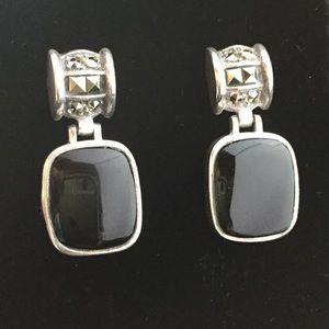 Jewelry - Sterling Silver Onyx Marcasite Earrings - Pierced